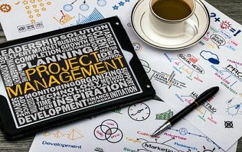 project management concept on touch screen